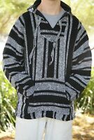 New Mexican Poncho Baja Hoodie Surfer Drug Rug Pullover Made in Mex Unisex Black