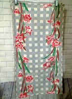"""Vintage 1940s 17"""" x 32"""" Table Runner Gray Pink Green Floral Cotton Linen"""