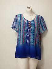 shirt Top Ruby Rd. Size 8 Batik Chic 2014 Teal Multi Short Sleeve V Neck Sheer