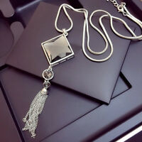 Women Silver Rhinestone Big Long Sweater Square Crystal Tassel Pendant Necklace
