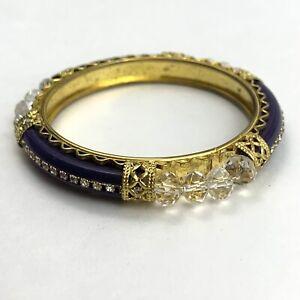 Boho Ethnic Purple Gold Tone Rhinestone Glass Bead Bangle Bracelet