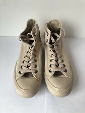 Pracically New Mens Womens Off-White Cream Converse All Stars Hi High Tops UK 7
