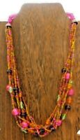 """Vintage Multi Strand Glass Plastic Bead Colorful Boho Pink Green 20"""" Necklace"""