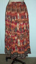 C.M. Shapes 100% Cotton Brown Rust Boho Ethnic Print Crinkle Drawstring Skirt 1X