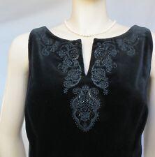 Laura Ashley vestido de terciopelo 38 40 cóctel negro boda terciopelo bordado perlas
