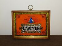 """VINTAGE 9"""" X 7"""" JUSTICE FOR ALL LAWYER FRAMED WALL HANG SIGN"""