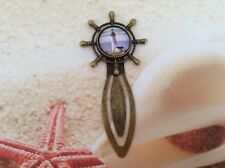 ANTIQUE BRONZE SHIPS WHEEL LIGHTHOUSE DESIGN GLASS DOME CABOCHON BOOKMARK CLIP