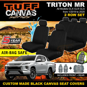 Black Tuff Canvas Seat Covers 2ROW Mitsubishi Triton MR DUAL CAB 1/2019-ON GLX