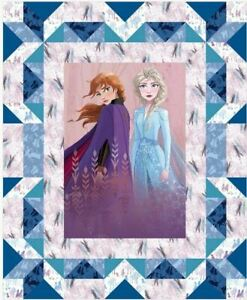 Disney Frozen 2 II Elsa and Anna Faux Cotton Quilting Fabric Panel