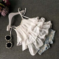 Toddler Kids Baby Girls Chiffon Pearl Vest Shirt+Jean Shorts Outfits Clothes Set