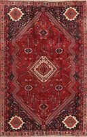 Vintage Abadeh Geometric Oriental Hand-Knotted Area Rug Wool Tribal Carpet 6x9