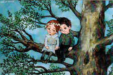 GIRL AND BOY ARE IN LOVE Modern Russian postcard by N.Chakvetadze