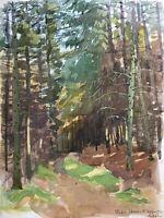 Naturalist Karl Adser 1912-1995 Waldweg Wanderweg Bäume Kiefer Wald Dänemark