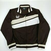 Billabong Mens Full Zip Striped Retro Track Jacket Size Medium Tan Brown