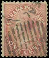Canada #14 used F HR 1859 First Cents Issue 1c rose Queen Victoria CDS CV$40.00