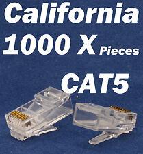 1000 X Pcs RJ45 Plug Cat5 Modular LAN Network Connector Internet Ethernet Cable