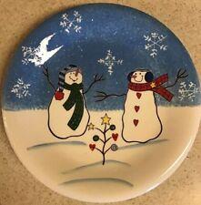 """St. Nicholas Square BUTTON UP 8"""" Salad Plate Blue White Snowmen Snowflakes"""