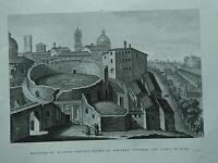 1845 Zuccagni-Orlandini Mausoleo di Augusto dietro il Palazzo Vivaldi Corea Roma