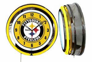 "Pittsburg Steelers 19"" YELLOW Neon Clock Man Cave Game Room Football"
