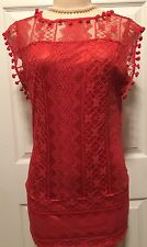 WOMENS DRESS MEDIUM RED LACE NEW 6 8 M POMPOMS NWT CUTE BTS FALL GAME DAY DEAL