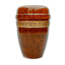 Floral Band Marble Brown Adult Aluminium Ashes Cremation Urn