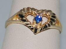 10k Gold ring with Sapphire(September birthstone) and heart design