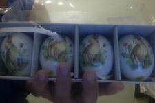 Lovely Rabbit Ceramic Easter Eggs Ornaments ~ Set of 4 Ribbon to Hang