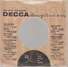Company Sleeve 45 Decca Brown W/ Black Text Catalog (Reverse W/ Black Stripes An