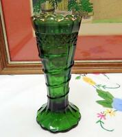"US GLASS ANTIQUE GREEN SERPENT WITH DIAMOND BAND 5 1/4"" BUD VASE 1898-1904"