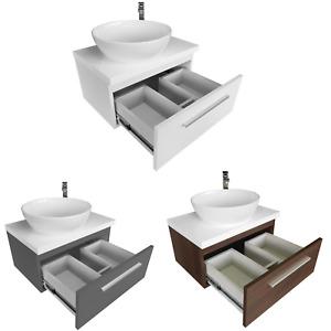 Aufsatzwaschbecken Waschtischunterschrank Platte Hochglanz Oval Keramik Badset