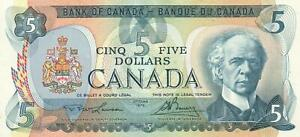 1979 CANADA FIVE DOLLARS BANKNOTE - FISHING TRAWLER - EXCELLENT MINT UNC