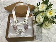 REAL WEDDING HORSESHOE USED LUXURY ROSE GOLD /PINK with Diamante Horseshoe Boxed