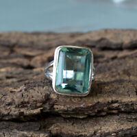 Octagon Apatite Quartz 925 Sterling Silver Artisan Handmade Gift Ring Jewelry
