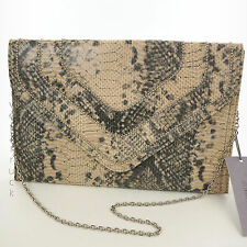 JENNIFER LOPEZ Beige & GRAY CLUTCH Faux SNAKESKIN PURSE Silver CHAIN STRAP Beads