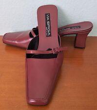 VIA SPIGA Italy Mauve Leather Slides Mules Wide Block Heel Square Toe size 7.5 M