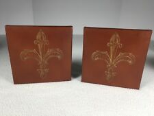 """Vintage Faux Leather Bookends 5""""x 5"""" Each Brown With Symbol On Front Art Deco"""