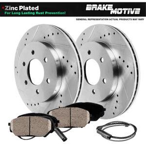 For Dodge Sprinter Mercedes Benz Front Drilled Slot Brake Rotors & Ceramic Pads