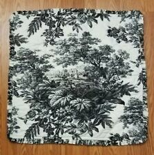 """Pottery Barn Toile Ruffled Black Euro Sham 26x26"""" Quilted Linen/Cotton Blend"""