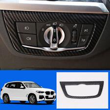 1* Carbon Fiber ABS Interior Headlight Switch Button Frame For BMW X3 G01 2018