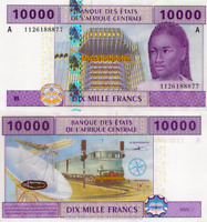CENTRAL AFRICAN STATE, GABON, 10000 FRANCS, 2002, P410Ac, aUNC