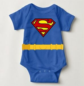 Superman Costume Personalized Baby One Piece with Back Name Print