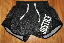 JUSTICE GIRLS SIZE 8 ACTIVE RUNNING ATHLETIC BLACK POLYESTER SHORTS PRE-OWNED