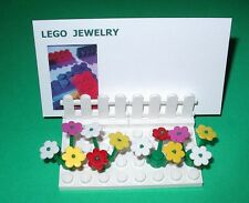 LEGO OFFICE DESK BUSINESS CARD HOLDER  CUSTOM MAKE FLOWERS / FENCE   COUNTER TOP