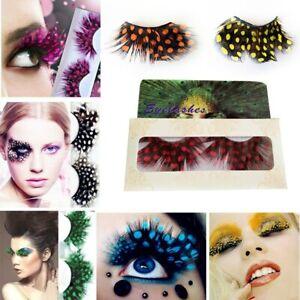 1 Pair Feather Dot False Eyelashes Extension Halloween Masquerade Makeup Tool