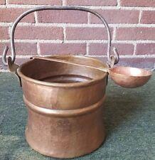 Vintage Hammered Copper Kettle/Cauldron w/Handle & Hammered Copper Ladle LOOK!
