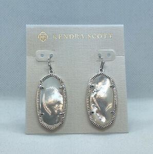 New Kendra Scott Elle Drop Earrings In Ivory Shell / Silver