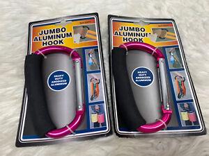 "(2)Jumbo Aluminum Carabiner Large D Ring Snap Hook Key Chain Cushion Grip 5 1/2"""