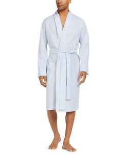 NWT CLUB ROOM Woven Light Blue Striped Belted Cotton Pajama Robe One Size