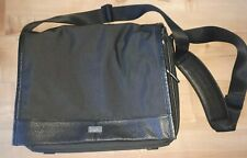 Cole Haan Black Nylon Pebbled Leather Attache Messenger Laptop Mens Shoulder Bag