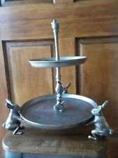 Pottery Barn 2 Tier Bunny Stand Silver Colored, Rabbit, Chicks,  Easter Spring